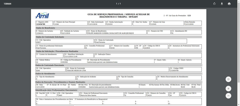 Impressão de Guia TISS do tipo SP/SADT